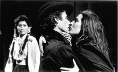 Goneril (Miki Kim, left) watches angrily as Edmund (Don Bilotti) kisses her sister Regan (Nancy Carlin) in KING LEAR at the California Shakespeare Festival, 1991. #calshakes40th