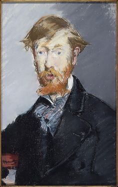 "Édouard Manet Portrait of George Moore. Pastel on canvas. An Irish critic and novelist, Moore used it as the frontispiece for his book ""Modern Painting"" Metropolitan Museum of Art, New York. Renoir, Claude Monet, French Artists, Metropolitan Museum, Oeuvre D'art, Portraits, Art History, Modern Art, Canvas Art"