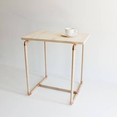 how to make copper and wooden dowel side table i just love the combination of