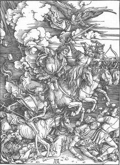 The Revelation of St John: 4. The Four Riders of the Apocalypse. Durer. 1497-1498. Woodcut. 399 x 286 mm. Kupferstichkabinett. Staatliche Kunsthalle. Karlsruhe.