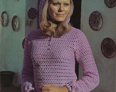 Pink & Daisies  1960s Pullover Sweater Patterns  60s Vintage