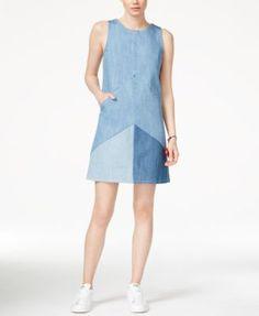 RACHEL Rachel Roy Colorblocked Denim Shift Dress | macys.com