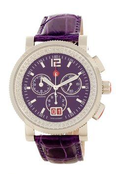 Michele  Women's Diamond Purple Dial Large Chronograph Watch