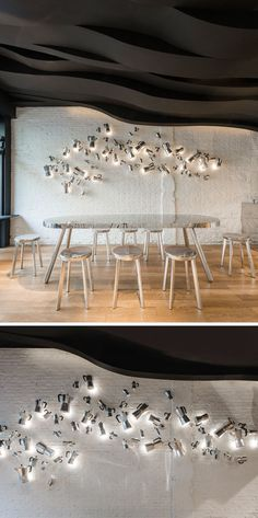12 Ideas For Creating An Accent Wall Using Unexpected Materials // This cafe has…