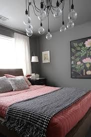 grey and coral bedroom - Pretty!