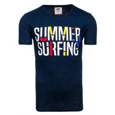 c11bb45765d5 Moderné pánske tričko tmavomodrej farby s nápisom summer surfing -  fashionday.eu