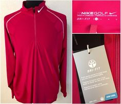 New Mens Nike Golf Dri Fit Red Long Sleeve 1/2 Zip Polo Shirt Size Large #Nike #ShirtsTops
