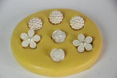 0021- Small Flower Variety Silicone Rubber Flexible Mold-resin, scrapbooking, embellishment, wax, soap, candy, chocolate
