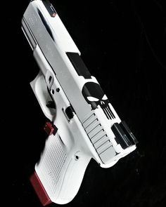 "Glock 19 Gen 4 ""The Punisher"" should be black but is is nice Weapons Guns, Airsoft Guns, Guns And Ammo, Rifles, Armas Airsoft, Glock 19 Gen 4, The Punisher, Custom Guns, Custom Glock 19"