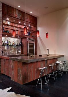 Finished basement bar area - stained concrete, open ceiling...