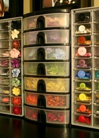 Button and embellishment storage -- love it! :)  Have to come up with a more practical solution than having all my buttons in one big vase.