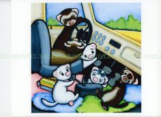 Art by Shelly Mundel. Ferret People  TRUCKIN FERRETS    8x8 Satin Canvas ALMOST HOME?