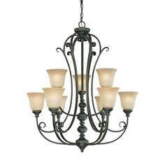 Jeremiah Lighting 24229-MB 9 Light Barret Place Chandelier, Mocha Bronze This product by Jeremiah Lighting has a mocha bronze finish. For use with nine