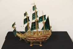 Silver gilt gem set Galleon decorated with garnets and pearls #ship