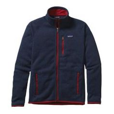 Patagonia Men\'s Better Fleece Jacket - Classic Navy w\/Totally Red CTYR Mens Fleece Jacket, Sweater Jacket, Fleece Jackets, Patagonia Better Sweater, Cool Sweaters, Outdoor Outfit, Easy Wear, Jacket Style, Motorcycle Jacket