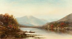 JOSEPH ANTONIO HEKKING (American, 1830-1903) Canoeing on the Hudson in Autumn Oil on canvas 20 x 36 inches (50.8 x 91.4 cm) Signed lower left: JA Hekking