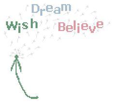 Dandelion Wish Dream Believe Counted Cross Stitch by TheGiftMarket, $3.00