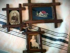 Vintage rustic frames, photos, needlepoint