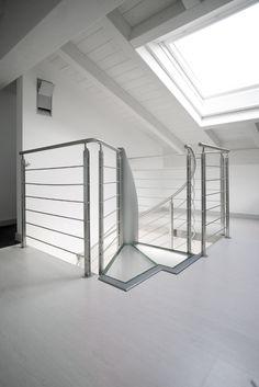 Scale a Chiocciola, in acciaio, vetro - Elica Glass - Alfa Scale