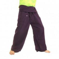 pantalones pescador tailandés - púrpura - algodón extra larga