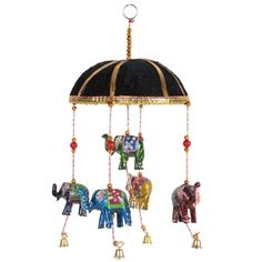 Hand made elephant mobile makes a wonderful decorative hanging for baby's crib or anywhere in your home. Elephant Mobile, Baby Cribs, Marigold, Elephants, India, Gifts, Fashion, Moda, Goa India