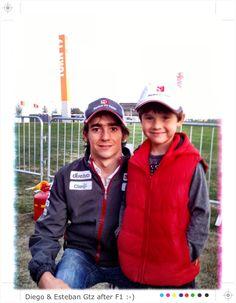 8yr old kart racer Diego Cortes with F1 Sauber driver Esteban Gutierrez