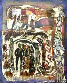totems etc...est une gravure/peinture acrylique sur bois. 36 x 24 po, août 2016...le monde des totemsde nos fétiches et croyances...
