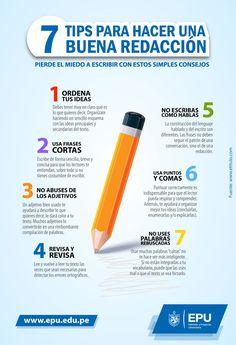 Siete consejos para hacer una buena redacción. #Infografia #EPU