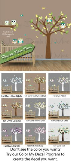 Children's Wall Decals with Tree and Owls by NurseryDecalsNMore2, $24.99