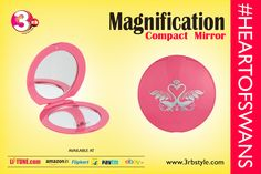 This Compact Mirror has a magnetic folding. One side it carry 2x magnification mirror and other side it carry normal mirror.  Take this little mirror along in your handbag Or makeup bag wherever you go. It is lightweight and small enough to fit wherever you need it to. Its magnification features help to apply makeup properly it letting you get as close as you need to draw on Your Eyeliner or put lipstick.