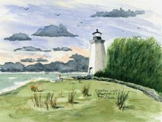 Black Rock Light, Bridgeport  Watercolor prints and note cards of over 250 lighthouses all over the USA.  Start your collection today. Original paintings by sailor/artist  Alfred La Banca, Darien, CT