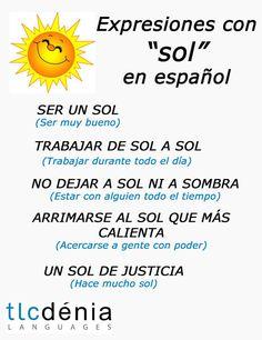Expresiones en español con la palabra sol. Spanish expressions. Learn new vocabulary!