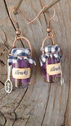 Słoiki ze śliwkami w syropie do zawieszenia na ucho / Plums in a jar - cool earrings