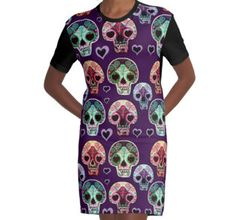 Sugar Skull Fashion by LeahG http://www.redbubble.com/people/cartoonistlg/works/19939778-sugar-skull-fashion-by-leahg?asc=t&p=a-line-dress via @redbubble #sugarskulls #fashion #streetstyle #dayofthedead
