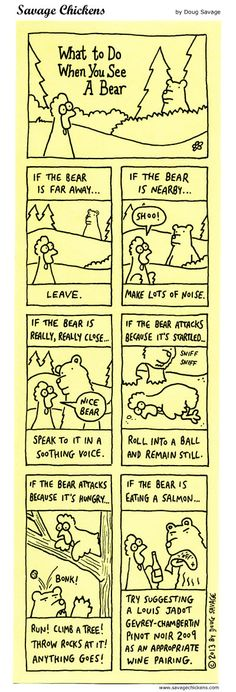 What To Do When You See A Bear Cartoon | Savage Chickens - Cartoons on Sticky Notes by Doug Savage
