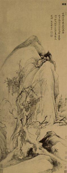 Yun Shouping (恽寿平) , 《古木垂萝图》  恽寿平