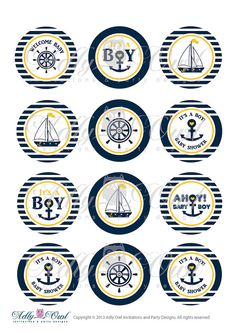 Nautical Baby Shower Cupcake Toppers,Favor Tags, Ahoy - Anchor - It's a Boy Printable DIY Yellow Navy - ONLY digital file - you print SKU41