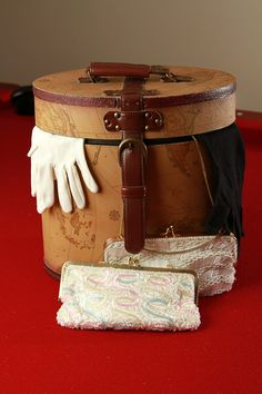 Vintage Hatbox with black and white gloves and 2 beaded purses