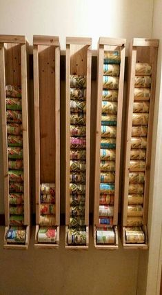 Canned good storage. Canned good storage. Diy Kitchen Storage, Kitchen Pantry Design, Pantry Storage, Pantry Organization, Garage Storage, Diy Storage, Storage Rack, Garage Shelf, Canning Jar Storage