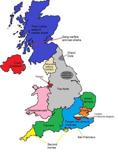 The stereotype map of Britain according to North Londoners