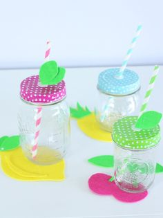 DIY Summer Fruit, Cupcake and Flower Coasters Made with the Cricut Explore Air // Fun Summer Decor // DIY Summer Party Decor with Fun Mason Jars