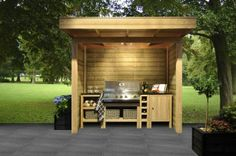 non conspiracy orchestra Outdoor Bbq Kitchen, Outdoor Cooking Area, Outdoor Kitchen Design, Outdoor Kitchens, Outdoor Furniture Design, Diy Garden Furniture, Outdoor Grill Station, Grill Gazebo, Bbq Table
