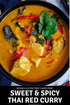 Bring a taste of Thailand straight to your kitchen. This vegan Thai red curry with kabocha squash and tofu is rich with spice, tang, and sweetness. Creamy coconut milk, spicy chilis, nutty kabocha squash, zesty lemongrass, and lime balance each other perfectly. This flavorful dish is completely vegan, gluten-free, and will make you want to do a happy food dance! #ThaiRedCurry #VeganCurry #ThaiCurry #vegan #Glutenfree Greek Recipes, Vegan Recipes Easy, Asian Recipes, Mexican Food Recipes, Vegetarian Recipes, Ethnic Recipes, Vegetarian Curry, Vegan Soup, Curry Recipes