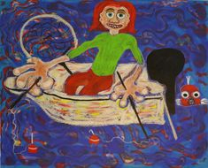 Fisherman, acrylic, oil sticks, oil pastels, canvas, 65cm x 81cm Dark Paintings, Original Paintings, Online Painting, Artwork Online, Dancer In The Dark, Autumn Painting, Original Art For Sale, Artists Like, House Painting