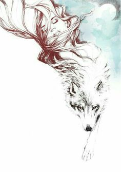 Imagem de wolf, girl, and art