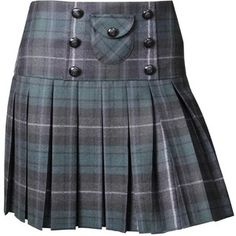 Dolce & Gabbana Green/Charcoal Tartan Pleated Mini Skirt