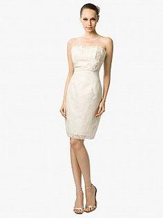 Knee Length Sheath Lace Wedding Dress with Floral Sash - USD $129.99