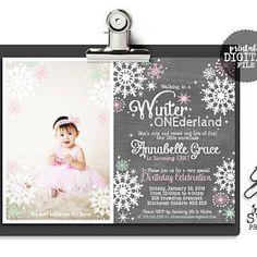 Winter ONEderland Girl Photo Picture Birthday Party Invite Invitation Wonderland One First 1st Pink Mint Chalkboard Chalk Snowflakes Stars