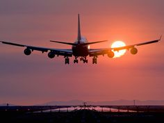 Boeing 747 Landing at Sunset, Vancouver International Airport, British Columbia, Canada Photographic Print at AllPosters.com