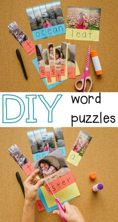 DIY word puzzles for kids! Fun name game or preschool activity. Eyfs Activities, Kids Learning Activities, Literacy Activities, Educational Activities, Teaching Kids, Kinesthetic Learning, Elementary Teaching, Literacy Centers, Teaching Tools